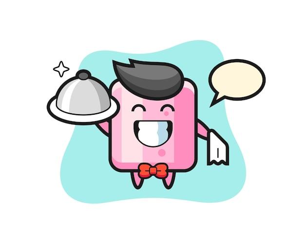 Charaktermaskottchen von marshmallow als kellner, süßes design für t-shirt, aufkleber, logo-element