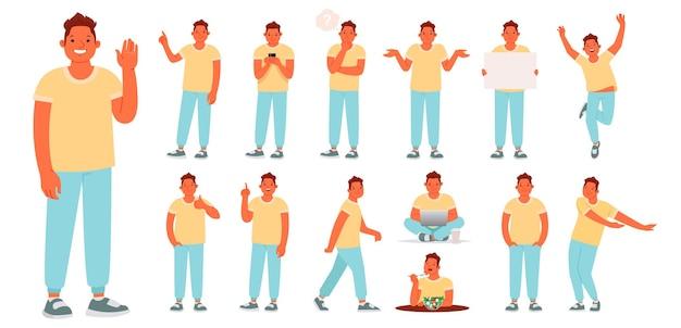 Charaktersatz eines jungen mannes in verschiedenen posen und aktionen. der typ ist mit täglichen angelegenheiten beschäftigt. er arbeitet, ruht, isst, drückt emotionen aus. vektorillustration in einem flachen stil