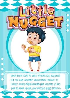 Charakterspielkartenvorlage mit wort little nugget