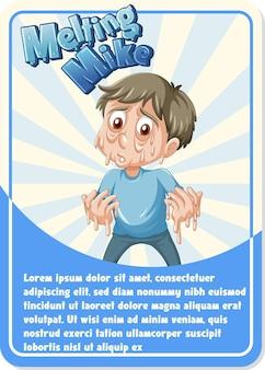 Charakterspielkartenvorlage mit wort melting mike