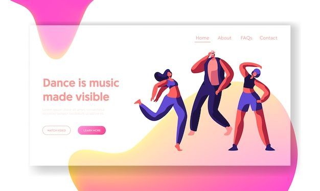 Charaktertanzen auf der landing page. freestyle musik coole action party. junger mann, teenager flexible akrobatik. bewegung, aktivität sport tanz für website oder webseite. flache karikatur vektor illustrat