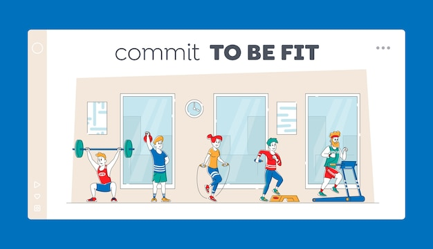 Charaktertraining mit professioneller ausrüstung in der landing page-vorlage für fitnessstudios.