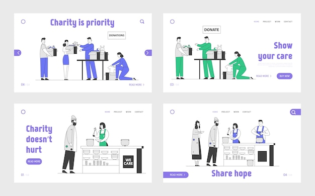 Charity and donation center website landing page set