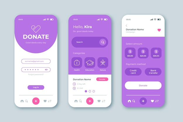Charity app interface-konzept