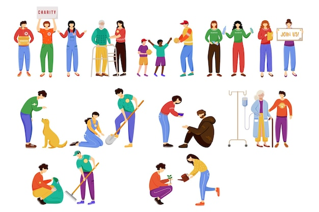 Charity arbeitet flach illustration isoliert