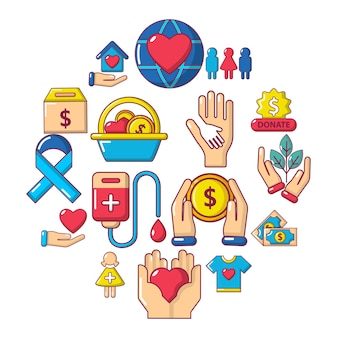 Charity-icon-set, cartoon-stil