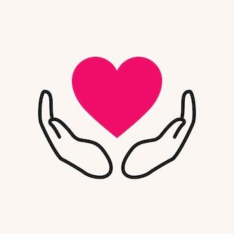Charity-logo, hände, die herz-symbol flache design-vektor-illustration unterstützen