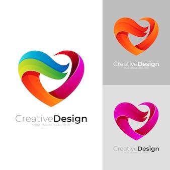 Charity-logo mit liebesdesign-community, 3d-stil