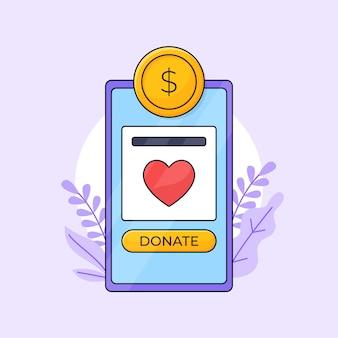 Charity undraising spenden mobile app-schnittstelle mit goldmünzen-symbol-anwendungs-gliederungsillustration.