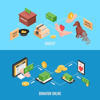 Charity-werbebanner mit angeboten für online-spenden und humanitäre hilfe