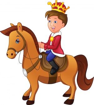 Charmanter karikaturprinz, der ein pferd reitet