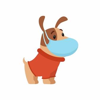 Charmanter welpe in warmer kleidung mit einer schutzmaske im gesicht. das konzept des schutzes vor atemwegserkrankungen, allergien.