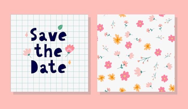 Charmantes save the date schöne frühlingskonzeptkarte tolle blumen und vögel in aquarell