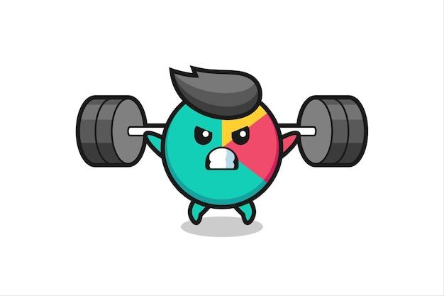 Chart-maskottchen-cartoon mit einer langhantel, süßes design für t-shirt, aufkleber, logo-element