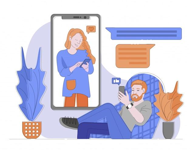 Chat-anwendung auf smartphone-illustration, mann sitzt im stuhl und frau am smartphone-bildschirm, mann gibt finger auf handy für frau auf. frau gibt wie für mann.