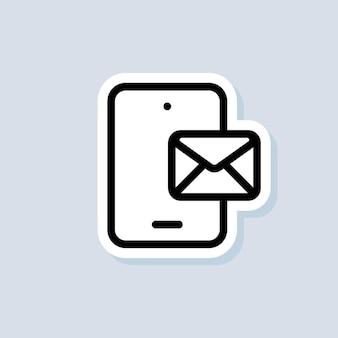 Chat-aufkleber. smartphone mit umschlag. newsletter-logo. telefon. e-mail- und messaging-symbole. vektor auf isoliertem hintergrund. eps 10.
