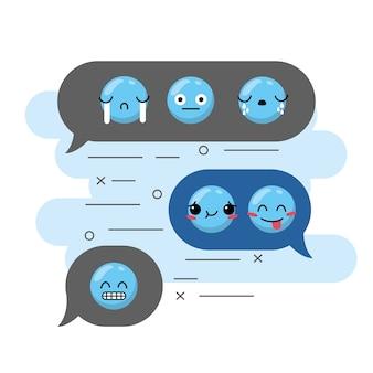 Chat-blase nachricht mit kawaii emoji
