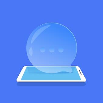 Chat blase symbol mobile messenger anwendung blauen hintergrund flach