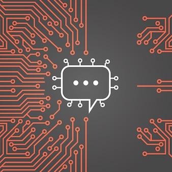 Chat-blase über computer chip moterboard hintergrund-social media-netzwerk-daten-system-konzept-fahne