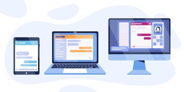 Chat-bot-dialogfenster auf computer, tablet, laptop-bildschirm