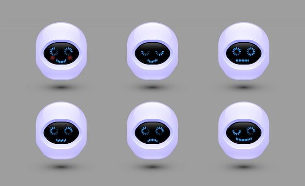 Chat bot gesichter. roboter mit unterschiedlichen emotionen.