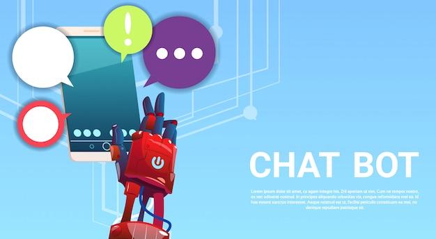 Chat bot hände mit handy, virtuelle roboterunterstützung von websites oder mobilen anwendungen, a