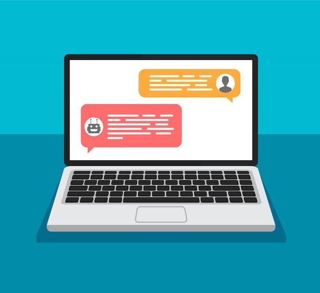 Chat-bot-konzept. öffnen sie den laptop mit dialogfeldern. chatten zwischen roboter und mensch auf einem computerbildschirm. flaches design von nachrichtenblasen.