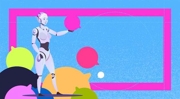 Chat-bot mit blasen roboter virtuelle hilfe von website oder mobilen anwendungen künstliche intelligenz messenger-support-konzept