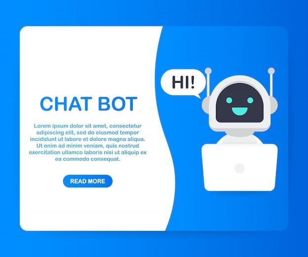 Chat-bot mit laptop-computer, roboter virtuelle unterstützung der website oder mobile anwendungen. sprachunterstützungs-service-bot. online-support-bot. .