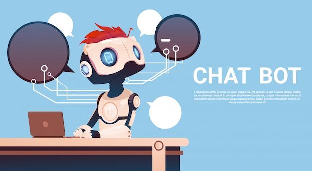 Chat-bot mit laptop-computer, virtueller roboterunterstützung von website oder mobilen anwendungen, artifici