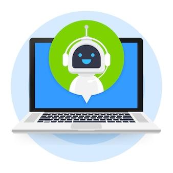 Chat-bot mit laptop-computer, virtueller roboterunterstützung von websites oder mobilen anwendungen. sprachunterstützungsdienst-bot. online-support-bot