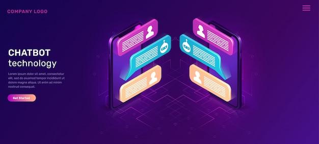 Chat-bot oder mobiles chatten, isometrisches konzept