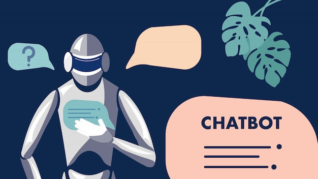 Chat bot, roboter, illustration für maschinelles lernen