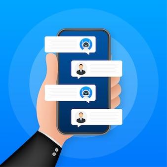Chat-bot-roboter-konzept auf dem smartphone-bildschirm. vorlagen-chat, nachricht. ai - künstliche intelligenz