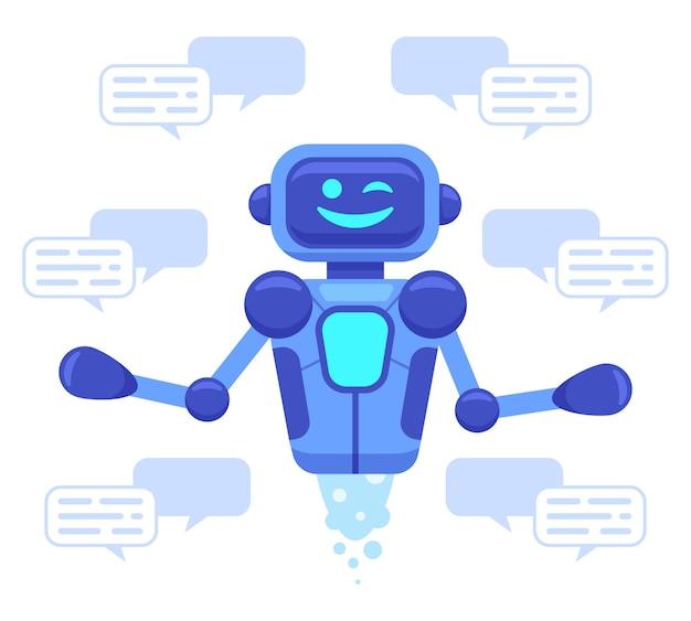 Chat bot unterstützung. chat bot assistent online-konversation, roboter unterstützen das chatten, virtuelle assistent talk service illustration. ai unterstützung, robotergesprächsservice und support