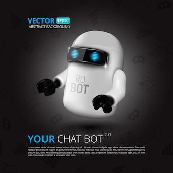 Chat-bot, virtueller assistent für benutzeroberfläche, mobile anwendung oder website-design. illustration des roboters lokalisiert auf schwarzem mit flachen symbolen