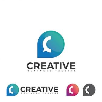 Chat-bubble-logo mit buchstabe c.