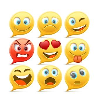 Chat-emoji und trauriges icon-set. vektorillustrationssammlung