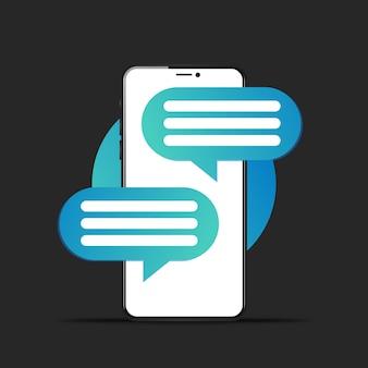 Chat-fenster auf dem telefonbildschirm
