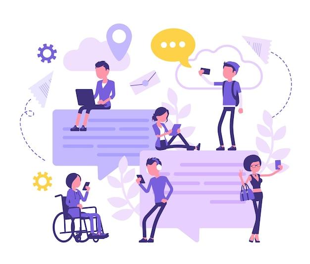 Chat-freunde-kommunikation mit smartphone. gruppe von menschen tauscht nachrichten online aus, sendet fotos im internet, riesige sprechblase, wolkensymbol. abstrakte vektorgrafik, gesichtslose charaktere