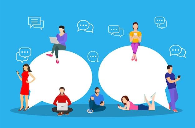 Chat-gespräch. leute zum senden von nachrichten