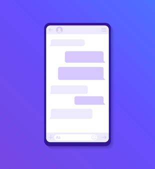 Chat-interface-anwendung mit dialogfenster. saubere mobile benutzeroberfläche. sms messenger. moderne flache abbildung