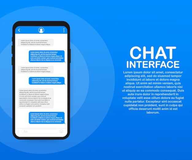 Chat-interface-anwendung mit dialogfenster. sauberes mobiles ui-designkonzept. sms messenger. .
