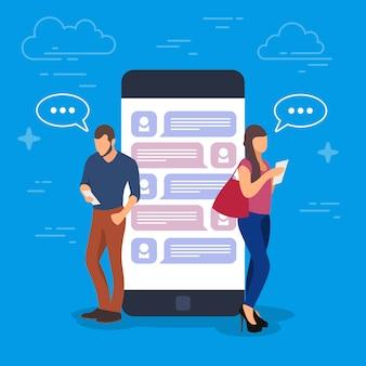 Chat-konzeptillustration. junge leute, die mobile geräte wie tablet-pc und smartphone verwenden, stehen auf einem großen telefon mit einem dialog auf dem bildschirm.