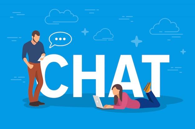 Chat-konzeptillustration. junge leute, die mobile geräte wie tablet-pc und smartphone verwenden, um sich gegenseitig nachrichten über das internet zu senden