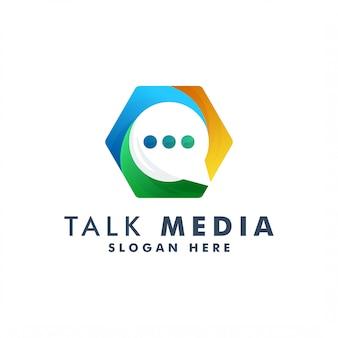 Chat-logo-vorlage. sprechen sie symbollogotypillustration