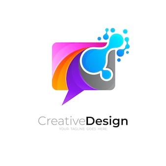 Chat-logos mit dna und farbenfrohen kombinationen, kommunikation