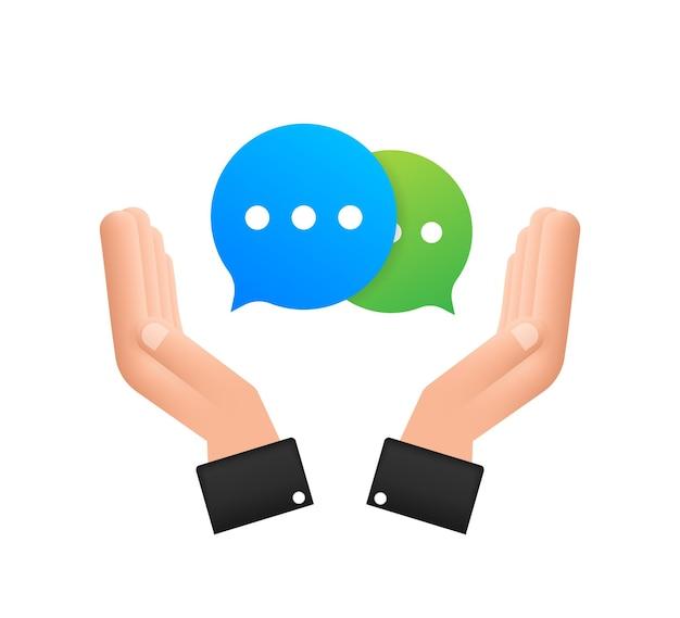 Chat message bubbles-symbol hängt über den händen auf weißem hintergrund. vektorgrafik auf lager.