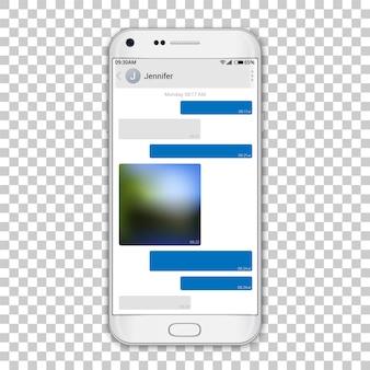 Chat messenger auf dem telefonbildschirm