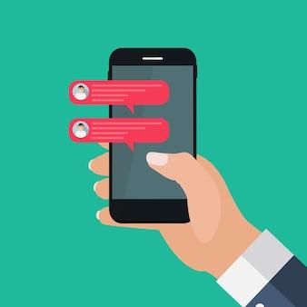 Chat-nachricht sprudelt auf smartphone-bildschirm, social-network-konzept. illustration